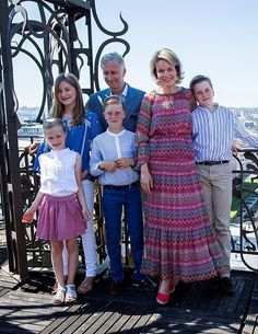 King Philippe of Belgium and Queen Mathilde of Belgium pose during a photo-shoot of the Belgian Royal Family's vacation at the MIM, Musica...