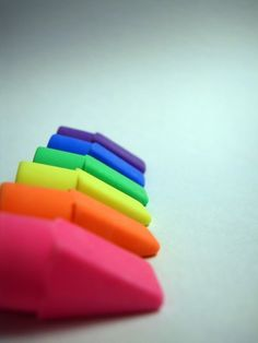 Rubbers in all different colours for the ends of pencils.
