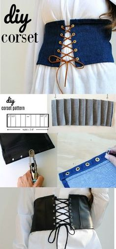 DIY Fashion: Make a Corset with Dritz Eyelets. See how to make an easy-to-constr… Sponsored Sponsored DIY Fashion: Make a Corset with Dritz Eyelets. See how to make an easy-to-construct corset for cosplay, everyday, Halloween/period costuming. Diy Corset, Motif Corset, Corset Pattern, Corset Belt, Diy Clothing, Sewing Clothes, Clothing Patterns, Sewing Patterns, Cos Clothes