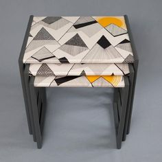 Sundown Nest of Tables from Humblesticks -- to exactly match our living room wallpaper!