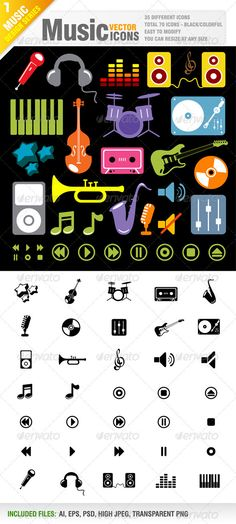 70 Music Icon Vector  #GraphicRiver         Vector set of music icons.  	 35 different style. 35 colorful and 35 black icons.  	 Total 70 pieces.  	 Vector Icons . You can use resize at any size.