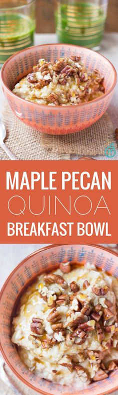 A simple quinoa breakfast bowl that& packed with fiber and protein for lasting energy, but that tastes just like an ooey-gooey cinnamon roll! Breakfast And Brunch, Quinoa Breakfast Bowl, Paleo Breakfast, Breakfast Recipes, Figs Breakfast, Mexican Breakfast, Quinoa Bowl, Breakfast Sandwiches, Breakfast Pizza