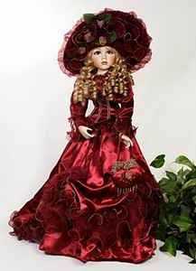porcelain doll with red dress Victorian Dolls, Antique Dolls, Vintage Dolls, Porcelain Jewelry, Porcelain Doll, Fine Porcelain, Decoration Piece, Old Dolls, Dollhouse Dolls