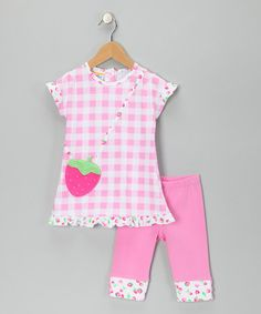Take a look at this Pink Strawberry Tunic & Leggings - Infant, Toddler & Girls by Sweet Potatoes on #zulily today!