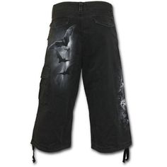 Sale NIGHTFALL Vintage Cargo Shorts 3/4 Long Black Shop Online From Spiral Direct, Gothic Clothing, UK