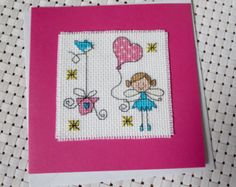 Cross Stitch Fairy and Cake Happy Birthday Card by AFreckleInTime