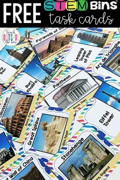 Try a FREE sample of International Landmark Task Cards for STEM Bins! Elementary STEM Challenges | STEM Activities for Kids