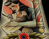 Rockbilly Barbering Tattoo Print