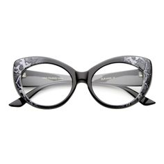 Retro 1950's Pointed Cat Eye Clear Lens Glasses - zeroUV