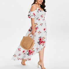 Bohelly New Women Casual Plus Size Floral Print Long Sleeve Linen Mini Party Dress