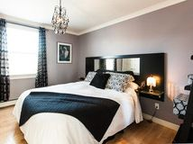Love the hanging headboard/side tables-- sleek and clean.  Dreaming in Color: 5 Fab Not-Beige Bedroom Neutrals