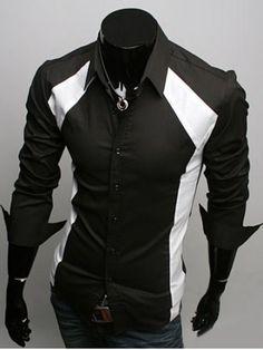 2016 New Fashion Men's Stitching Stylish Dress Shirts Autumn & Spring Black & White Casual Slim Fit Shirts Plus Size Cool Shirts For Men, Casual Shirts For Men, Men Casual, Formal Shirts, Formal Casual, White Casual, Black White, Color Black, Long Sleeve Fitted Dress