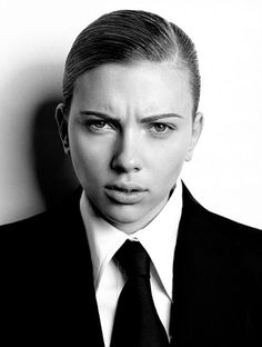 Scarlett Johansson looking fierce in a white shirt and tie