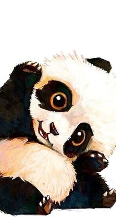 This baby panda is adorable. I wish I knew who the artist is, so I could add their name.