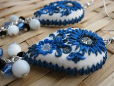 blue and white teardrop polymer clay earrings