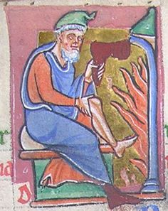 The labour of the month for February (a man warming his foot by the fire)  From f.1v of MS K.30, Psalter (North Midlands, c.1190-1200).