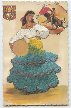 Embroidered Silk fabrics Spain Flamenco DANCE Ethnic Dress 1960s postcard cp05 picclick.com Spanish Gypsy, Spanish Dancer, Spanish Art, Spanish Tattoos, Hat Crafts, Flamenco Dancers, Ethnic Dress, Mexican Art, Antique Prints