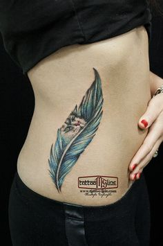 feather tattoo colorful
