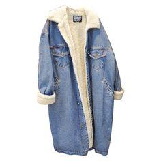 Retro Womens Fleece Thick Long Denim Jeans Coat Winter Big Lapel Lining 1e0722e2da