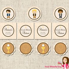 PRINTABLE Personalized First Communion Boy Party Circles (Character of your choice) First Communion Party, First Holy Communion, Little Man Party, Eucharist, Ideas Para Fiestas, Gods Grace, Frozen Party, Place Card Holders, Printables