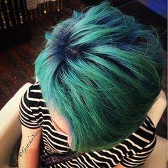Sapphire blue roots going into mermaid blue. Rocking this cute little pixie! #mermaidhair #bluehair #coloredroots #fantasyhair #pixie #happyhair #askforgretchen