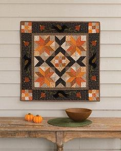 Black Bird Autumn Quilt Pattern. Use different colors.