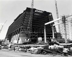 Imagineering Disney - Amazing construction photo of building the Contemporary Resort and Monorail.
