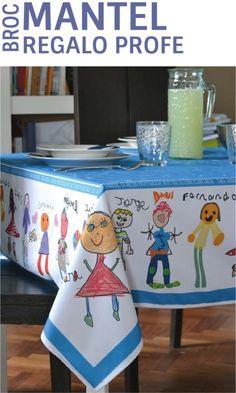El regalo estrella para el profesor o la profesora. Un Broc Mantel personalizado con los dibujos de sus niños. Regalos de máxima calidad y mucho diseño. Regalos con sentimientos. www.mrbroc.com