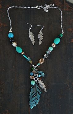 COWGIRL Bling Southwest Turquoise PATINA FEATHERS Western Gypsy NECKLACE SET #davinci