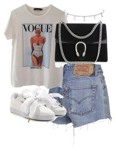 Dolce&Gabbana, Puma and Gucci Edgy Outfits, Cute Casual Outfits, Mode Outfits, Retro Outfits, Girl Outfits, Fashion Outfits, Casual Shorts, Polyvore Outfits, Polyvore Fashion