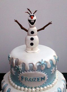 Disney's+Frozen+Theme+Cakes | Disney Frozen Themed Cake With Olaf Anna and Elsa