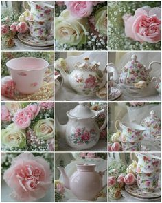 A beautiful collection of Vintage Tea Pots and Cups. c.  http://willowweddings.com/tag/vintage-inspirations/