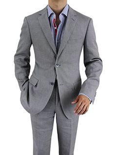 Bianco B Men's Modern Fit Two Button 2 Piece Linen Suit (46 Regular US / 56 Regular EU, Gray) Bianco B http://www.amazon.com/dp/B00L9LZVPI/ref=cm_sw_r_pi_dp_WqADub0CN03SH