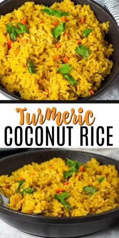 Enjoy this delicious and healthy Turmeric Coconut Rice for your next meal. Brown rice simmered in seasoned coconut milk with onion, garlic, and thyme. #coconut #rice