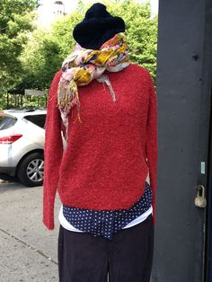 Hartford hat, sweater, and blouse; Hudson cords; Enza layering tee.