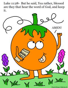 Pumpkin Holding Bible Coloring Page Luke 11:28 blessed are they that hear the word of God and keep it