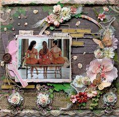 Be Inspired Dance Ballerina Premade Scrapbook Page 12 x 12 Vintage, Shabby Chic,  Wedding, Art, Layout, Prima