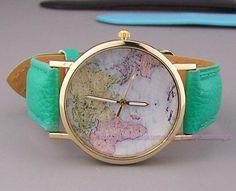 World Map Watch Watch, Vintage Style Leather Watch, Women Watches, Unisex Watch, Boyfriend Watch, mint color Watch
