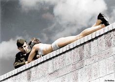 American soldier talks to German girl - Berlin 1945
