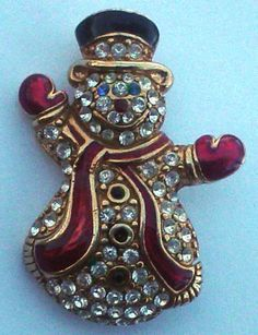 MONET+Rhinestone+Enamel+Gold+Tone+Snowman+Christmas+Pin+Brooch,Signed,VINTAGE+#MONET