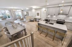 This is the Gala townhome model in Findlay Creek. New Home Builders, Model Homes, Home Accents, Townhouse, New Homes, Colours, Kitchen, Table, Inspiration
