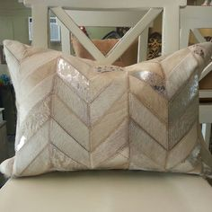 Chevron White Silver Metallic Cowhide Pillow available in Houston Texas 725 Yale St (713)8802105