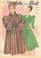 Lady in Fur Coat, 1940's Fashion Print