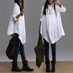 Irregular white long-sleeved casual shirt / loose cotton shirt : Chemises, blouses par dreamyil
