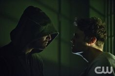 """Arrow -- """"Unfinished Business"""" -- Image AR119a_0144b --Pictured (L-R): Stephen Amell as The Arrow and Seth Gabel as The Count -- Photo: Cate Cameron/The CW -- © 2013 The CW Network. All Rights Reserved"""