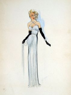 Edith Head sketch for Corinne Calvet in My Friend Irma Goes West (1950)