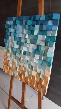 03 THE BEACH Wooden Geometric Wall Art, Wooden Sound Diffuser, Modern Wood Art, Wooden Acoustic Wall Panel, Wooden Mosaic - peinturefr Geometric Wall Art, 3d Wall Art, Wooden Wall Art, Wooden Walls, Wall Wood, Wood Mosaic, Mosaic Art, Wood Wall Design, Acoustic Wall Panels