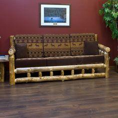 Aspen Log Sofa - JHE's Log Furniture Place- Rustic log furniture
