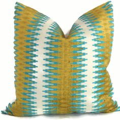 Turquoise and Chartreuse Chenille Stripe Decorative by PopOColor on Etsy