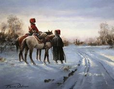 4th Hussar Regiment, Napoleon Army, in a snow landscape